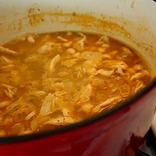 White Bean Chicken Chili Simmering on a Clean Stove
