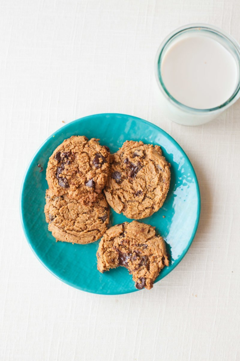 Chocolate Chip Almond Butter Cookies - Plate
