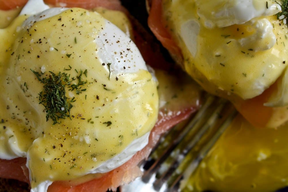 smoked salmon eggs benedict - Back to Her Roots