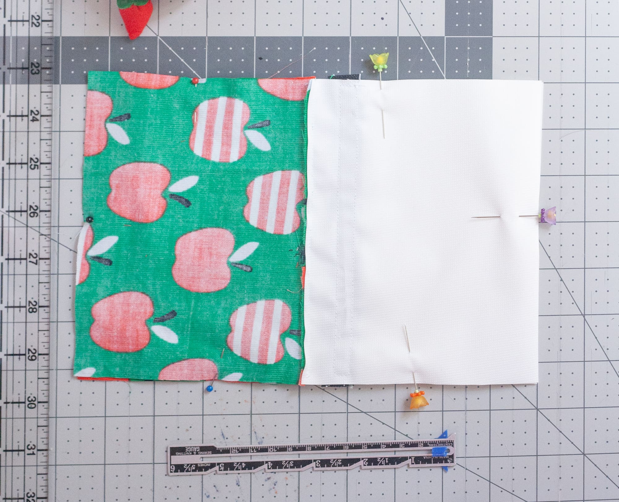 Pieces of fabric for reusable snack bags pinned together