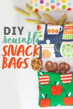 "Reusable snack bags, each spilling out a different snack - pretzels and crispy snap peas. A text overlay reads ""DIY Reusable Snack Bags."""
