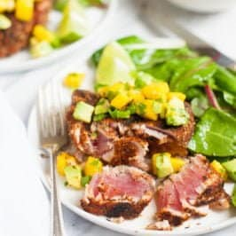 Grilled Blackened Tuna Steaks with Mango Avocado Salsa - Plated