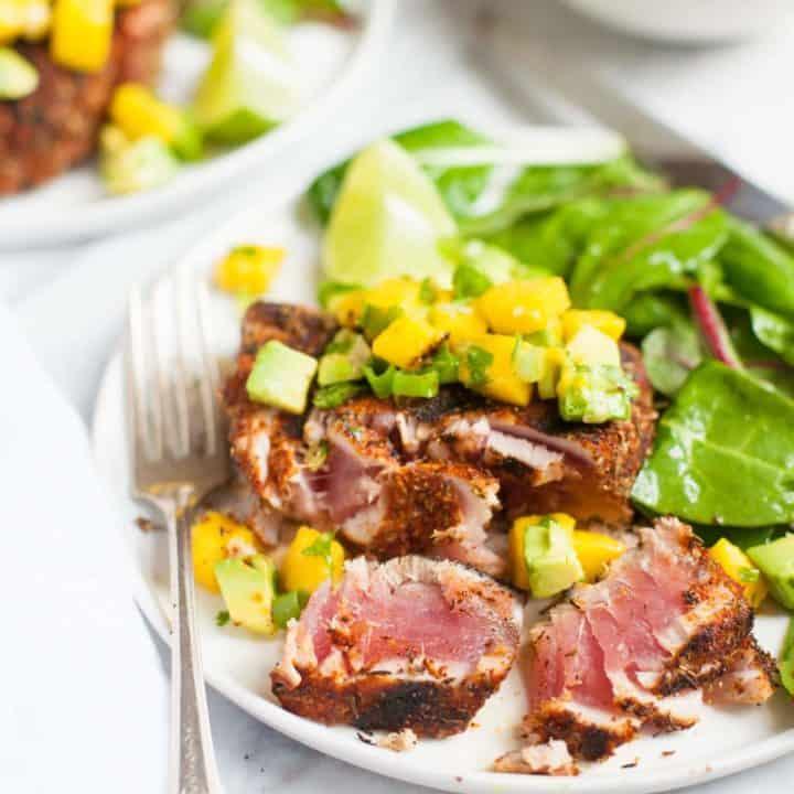 Grilled Blackened Tuna Steaks with Mango Avocado Salsa