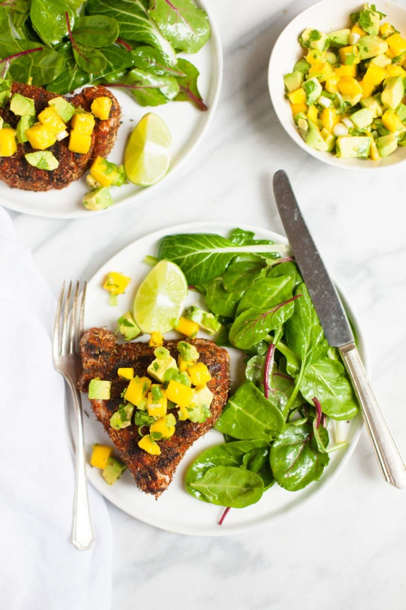 Grilled Blackened Tuna Steaks with Mango Avocado Salsa - Overhead Shot