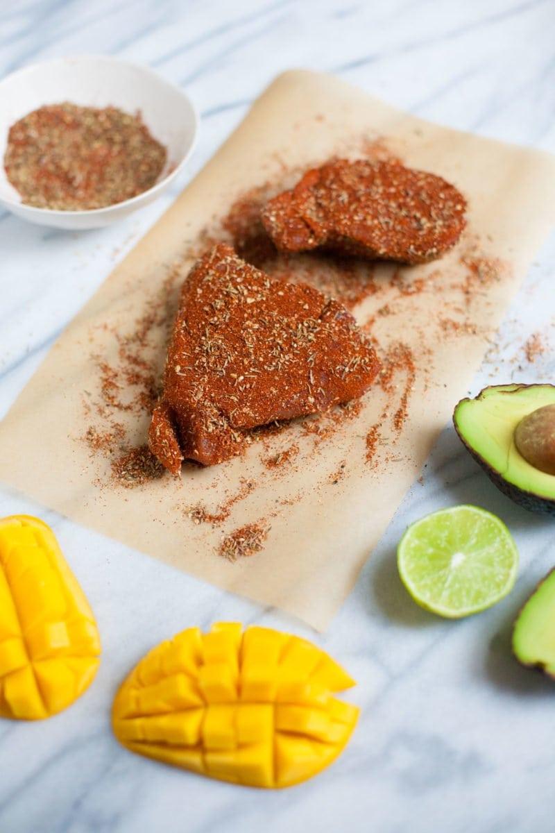 Grilled Blackened Tuna Steaks with Mango Avocado Salsa - Tuna Steaks with Seasoning