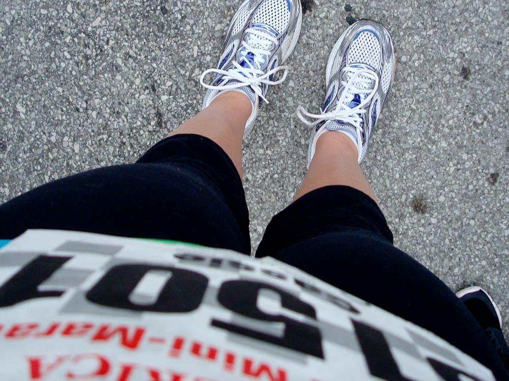 me 13.1 race bib feet shoes