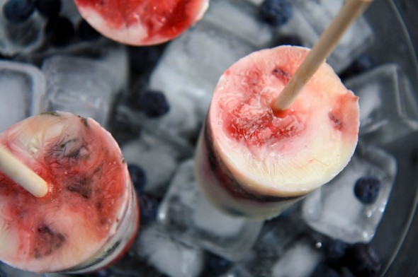 red, white and blueberry yogurt pops - Wholefully
