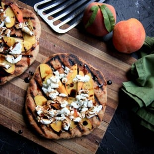 sunday brunch: grilled peach and goat cheese pizza