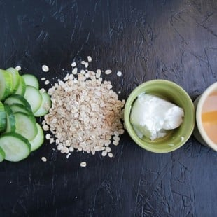 cucumber, honey and oat face mask