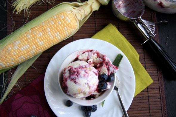 sweet corn and three berry ice cream - Wholefully