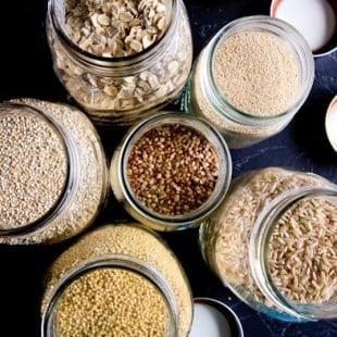 grains mason jars
