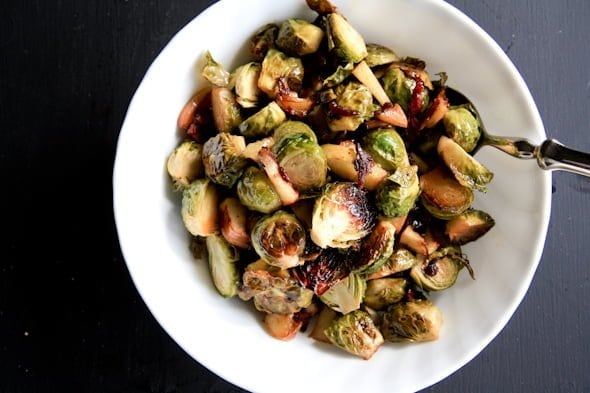 roasted brussels sprouts with bacon and apples - Back to Her Roots