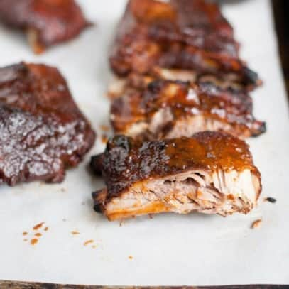 Slow Cooker Barbecue Ribs on a white background