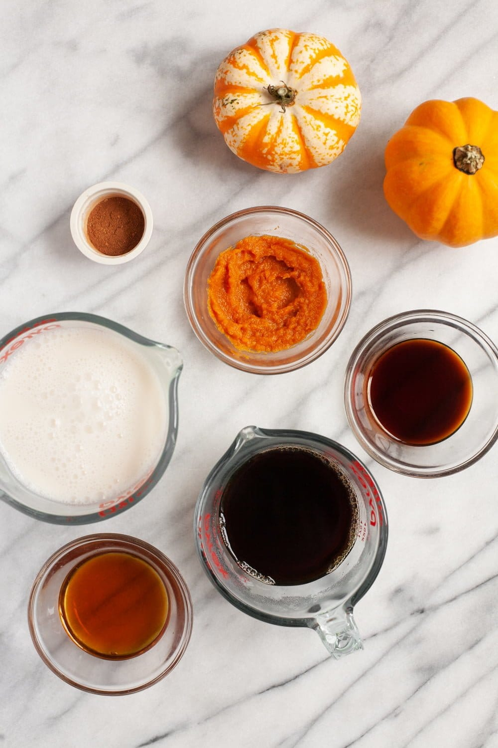 Ingredients for Vegan Pumpkin Spice Latte in glass containers - pumpkin, coffee, maple syrup, almond milk, vanilla extract