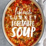 """Turkey Vegetable Soup in a stockpot on a marbled background. Text overlay reads """"Leftover Turkey Vegetable Soup."""""""