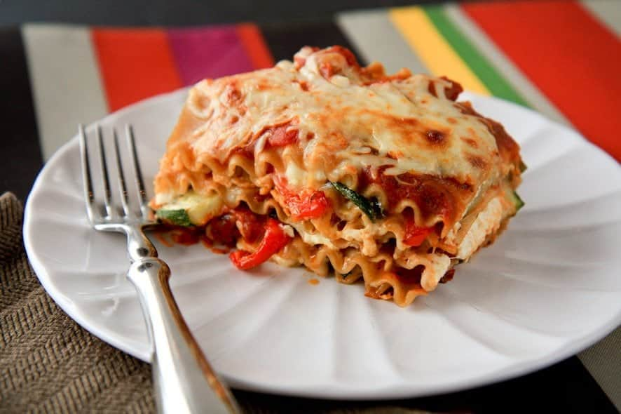 roasted vegetable lasagna stack for one - Back to Her Roots