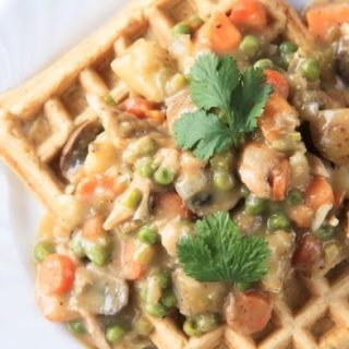 cleaned-up creamy chicken and waffles
