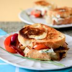 chive goat cheese and roasted red pepper sandwiches