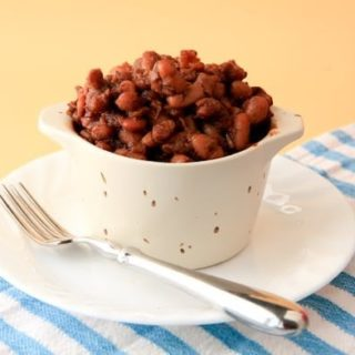 vegan baked beans with pears