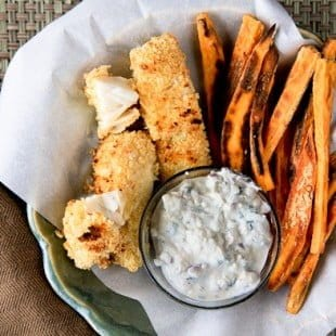 crispy baked fish and sweet potato chips