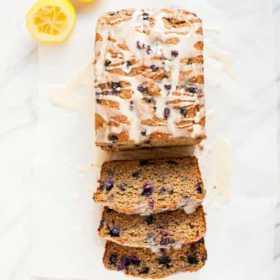 Wild Blueberry Banana Bread with Lemon Glaze - Sliced