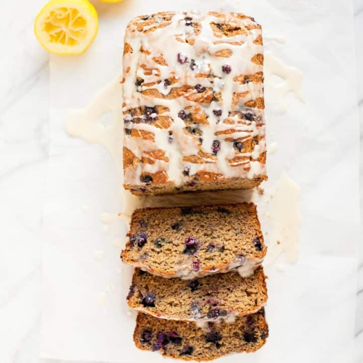Wild Blueberry Banana Bread with Lemon Glaze