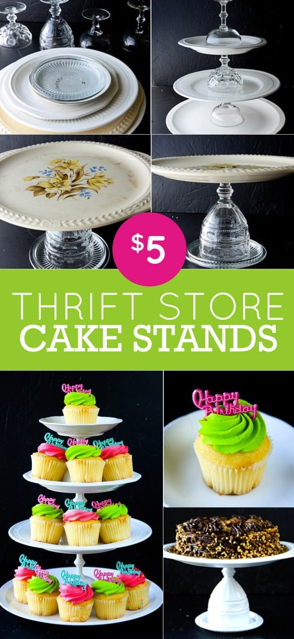 How to Make Cake Stands from Thrift Store Finds