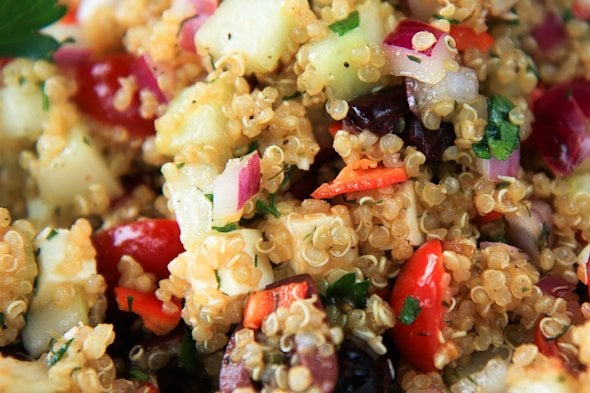 cold greek quinoa salad - Back to Her Roots