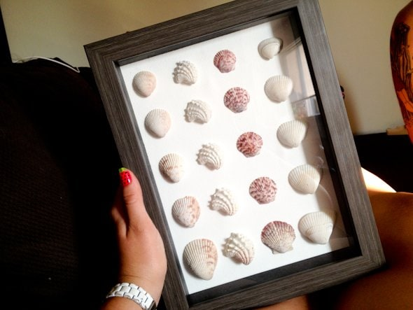 We saw these shell-art shadowboxes while we were. on vacation.