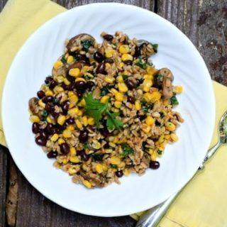 mushroom, corn and black bean farro