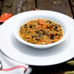 vegan fall vegetable stew with black beans and barley