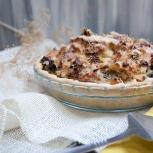 sausage, kale and mashed potato pie