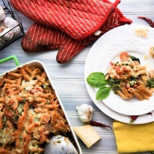 cheesy baked penne with spinach and italian sausage
