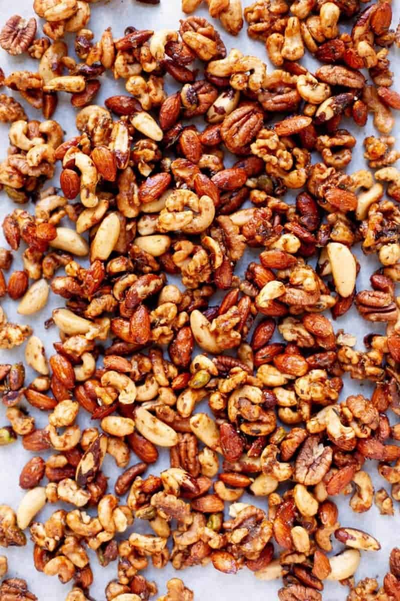 Maple Rosemary Bar Nuts on a white background