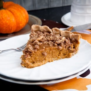 lighter pumpkin pie with cinnamon walnut streusel