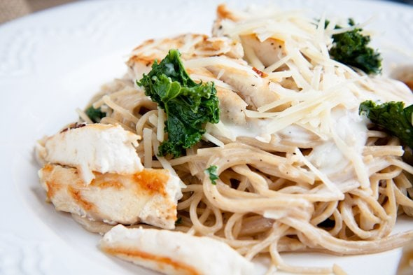 chicken and kale alfredo