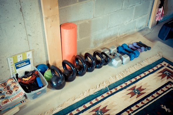 weights gym kettlebells