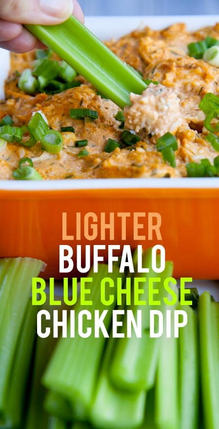 Lighter Buffalo Blue Cheese Chicken Dip