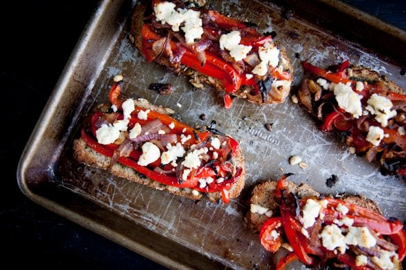 roasted veggie toasts