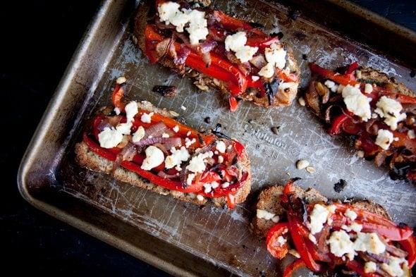 roasted veggie toasts