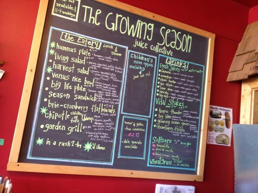 the growing season menu board
