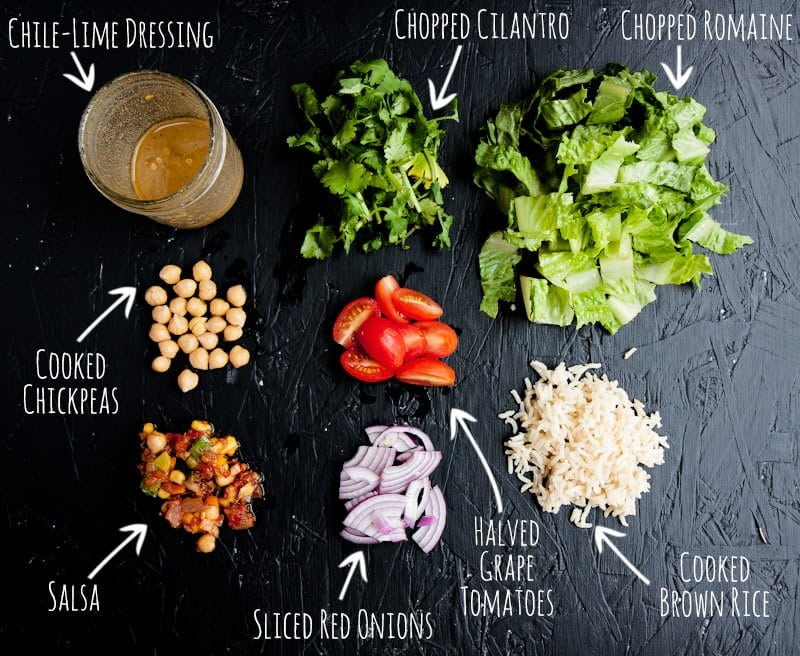 mexican chickpea salad jar ingredients