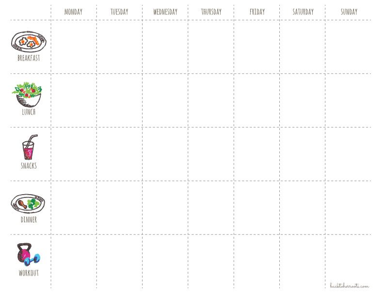 Menu Exercise Planner Free Printable Wholefully
