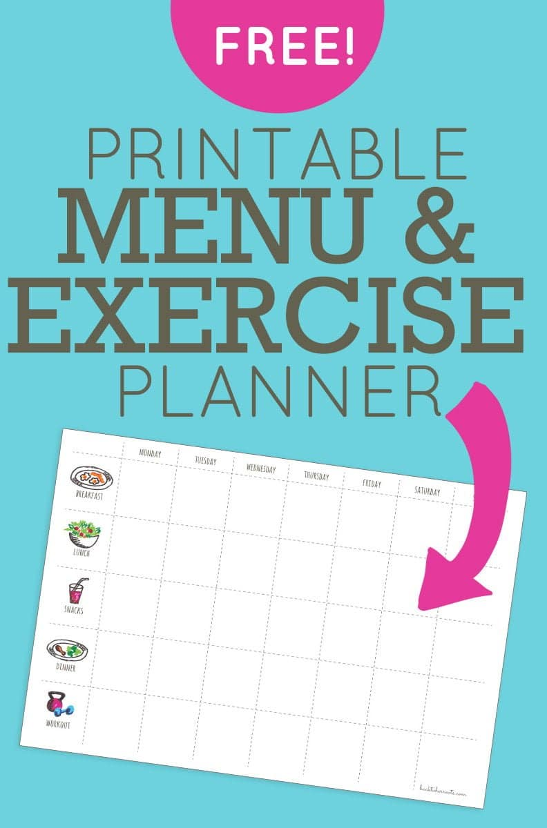Menu And Workout Planner Free Printable Menu U0026 Exercise Planner  Menu Calendar Template