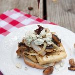grilled tofu burgers with mushrooms & blue cheese