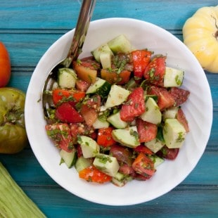 herbed cucumber and tomato salad