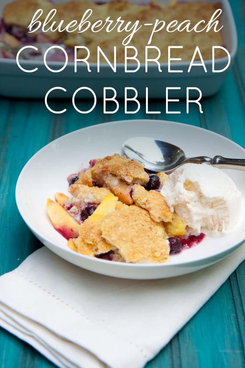 Blueberry-Peach Cornbread Cobbler