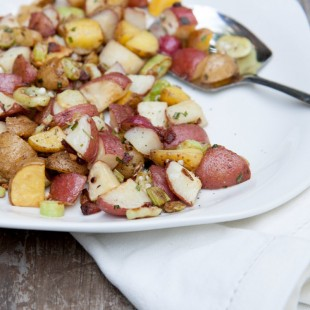 bacon, okra and potato hash