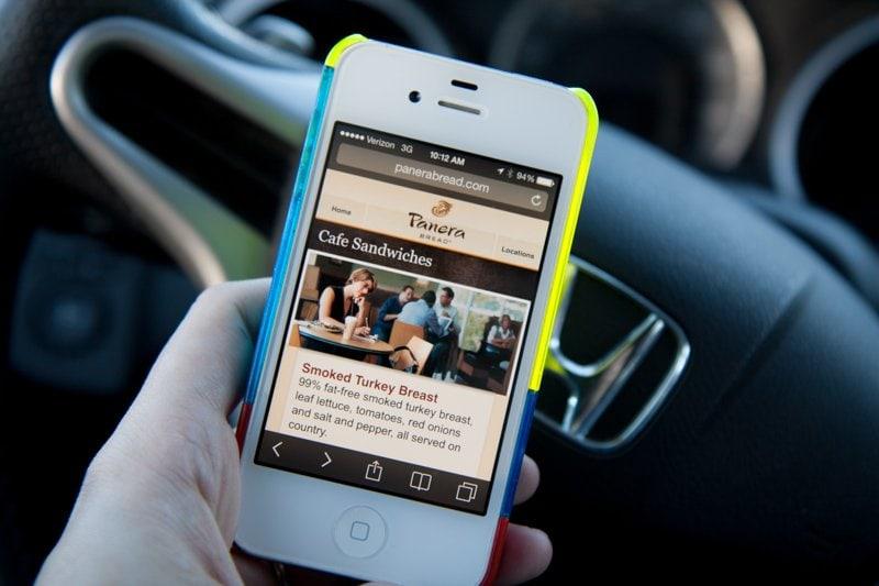 phone menu car panera