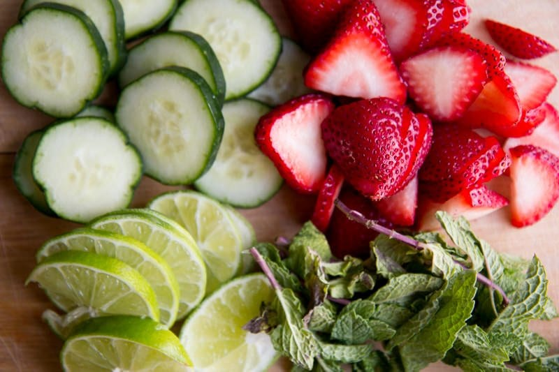 strawberries, cucumbers, lime, mint